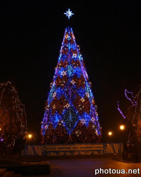 Night  Kyiv New Year tree