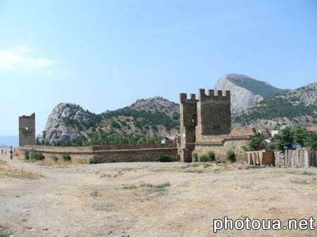 Sudak. Crimea. Fortress wall with towers